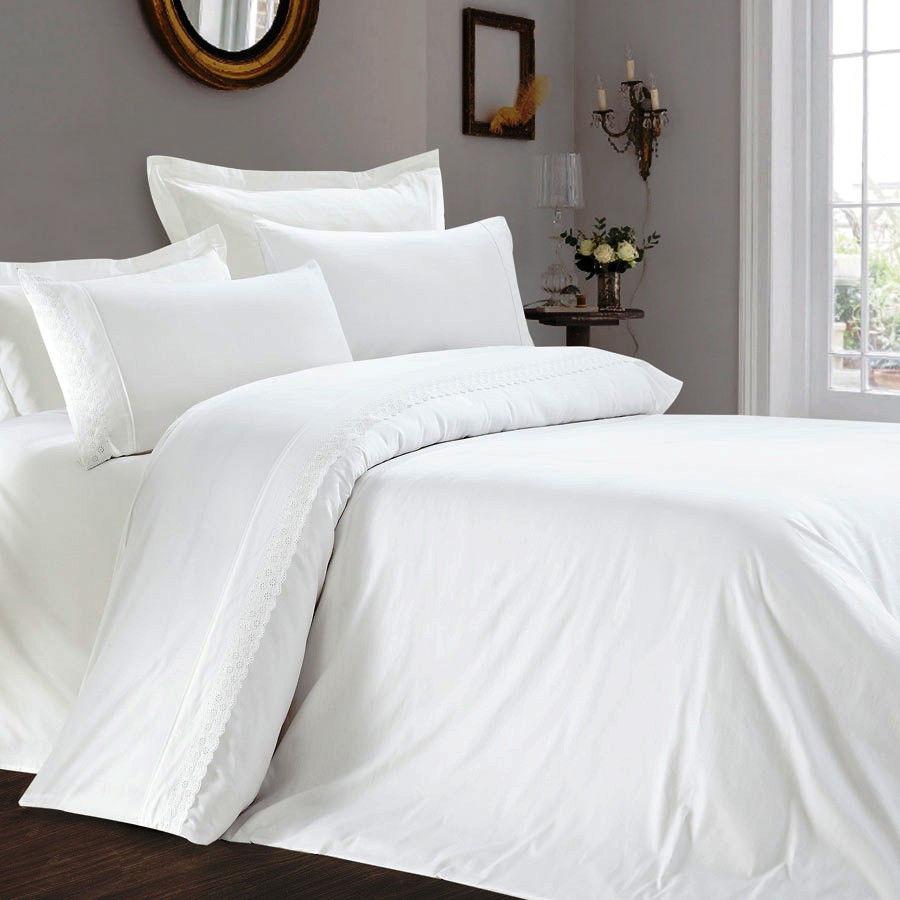 Комплект постельного белья Полуторный Love You Сатин с кружевом 160Х220 белый 1