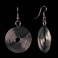 """Серьги """"Гипнотическая спираль"""", крупные медальоны из мотков проволоки\ под """"серебро \55*35мм"""