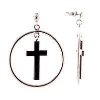 """Серьги-пусеты обручи тонкие, с крестами в центре,металл под """"серебро"""",40мм"""