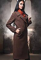 Элегантное Двубортное Пальто Демисезон Шоколадное