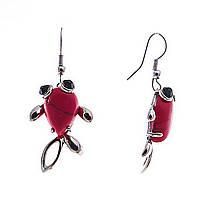 Серьги подвески Рыбки,красный коралл(пресс),металл под серебро,45мм