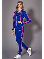 Спортивный женский костюм Adidas цвета электрик с розовым