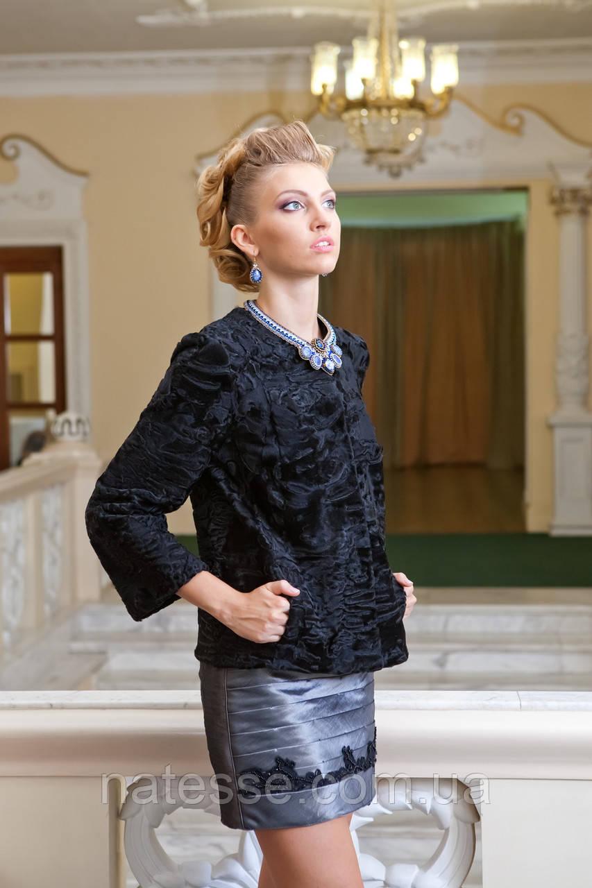 Пиджак жакет из каракульчи черный swakara broadtail jacket
