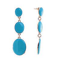 """Серьги-пусеты с подвесками """"Медальоны"""" на звеньях голубая эмаль, 65*20мм"""