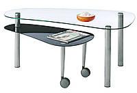 Столик  кофейный (закаленное стекло) + видвижная полка 70x120х50см