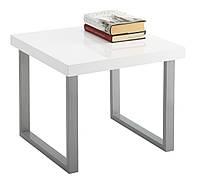 Маленький стильный квадратный столик белый глянцевый с металлическими ножками