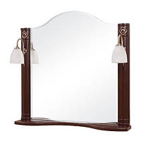 Зеркало Аква Родос Арт Деко 100 см с двумя подсветками, итальянский орех