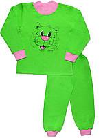 Утепленная детская пижама (кофта и брюки) (Зеленый с розовым)