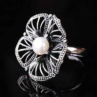 """Женское серебряное кольцо """"цветочек"""" (жемчуг)"""