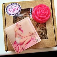 Розовое мыло ручной работы набор Ретро