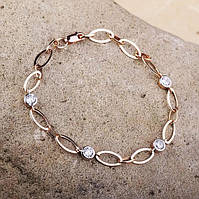 Золотой женский браслет (фианит)