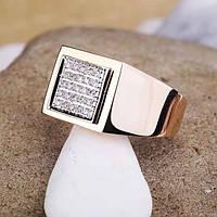 Золотое мужское кольцо с фианитами