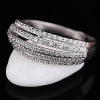 Женское серебряное кольцо с фианитами украина (родий)