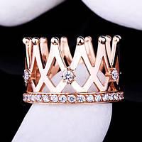"""Женское золотое кольцо """"корона"""" с фианитами"""