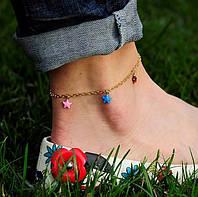 Золотой женский браслет на ногу (эмаль)