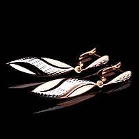 Золотые женские сережки из белого и красного золота