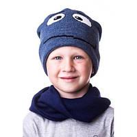 Интересная детская шапочка на мальчика с глазками