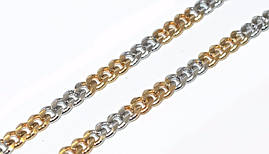Цепочка фирмы Xuping, цвет: позолота+серебро. Длинна 46 см, ширина 3 мм.