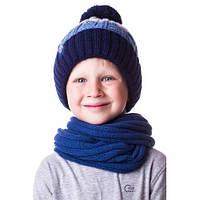 Теплая детская шапочка на мальчика в полоску