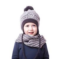 Теплая детская шапочка для мальчика на флисе с помпоном