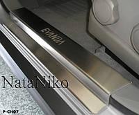 Накладки на пороги  Шевролет Эванда с 02-06 (нерж) 4-штуки NatoNico.