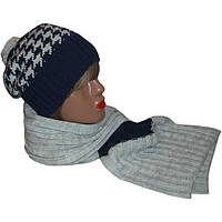 Женская вязаная шапка носок,  шарф петля  c норвежскими орнаментами
