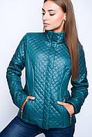 Женская осенняя куртка  22760 зеленая 40-48 размеры