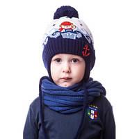 Детская шапочка на мальчика на завязке с помпоном