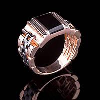 """Золотое мужское кольцо с ониксом (плетение """"Ролекс"""")"""