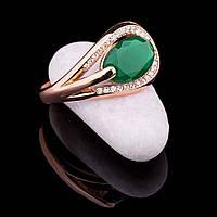 Женское золотое кольцо (хризопраз, фианиты)