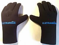 Перчатки подводной охоты KatranGun Hunter 5 мм; нейлон/открытая пора; защита на ладони - дюратекс