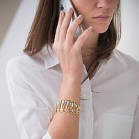 Золотой женский браслет из желтого золота с фианитами