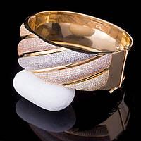 Золотой женский браслет из желтого и белого золота с фианитами