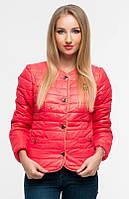 Модная короткая женская куртка на пуговицах без воротника плащевка