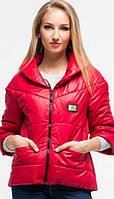 Молодежная короткая женская куртка на молнии с рукавом три четверти ткань лаке