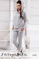 Женский спортивный костюм Капюшон серый