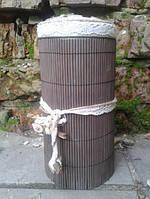 Емкость  декорированная из натурального дерева
