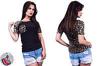 Женская черная футболка с леопардовой спиной и карманом на груди. Арт-2553/36