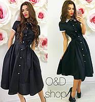Женское красивое платье-рубашка с поясом