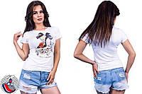 Женская белая футболка с принтом Туфелька. Арт-2555/36