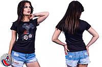 Женская черная футболка с принтом Туфелька. Арт-2555/36