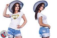 Женская белая футболка с принтом Микки сердце. Арт-2557/36
