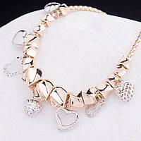 Золотой женский браслет с сердцами из белого золота