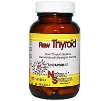 Поддержка щитовидной железы, Raw Thyroid, Natural Sources, 60 кап.