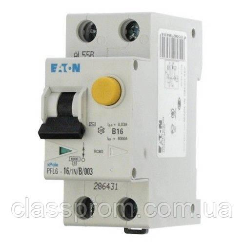 Дифференциальный автоматический выключатель  PFL6-10/1N/B/003 EATON