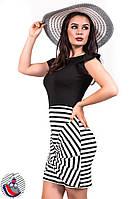 Платье трикотажное комбинированное до колен. Арт-2564/36