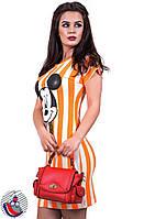 Платье оранжевое в широкую полоску с накаткой Микки. Арт-2565/36