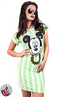 Платье зеленое в широкую полоску с накаткой Микки. Арт-2565/36
