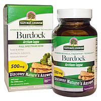 Лопух, трава полного спектра, 500 мг, 90 капсул, Burdock, Natures Answer