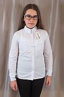 Модная стильная белая школьная блуза-рубашка на девочку.